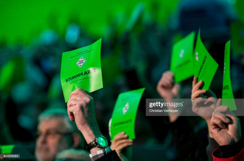 Impressions during the Annual Meeting of Borussia Moenchengladbach at Borussia-Park on April 16, 2018 in Moenchengladbach, Germany.