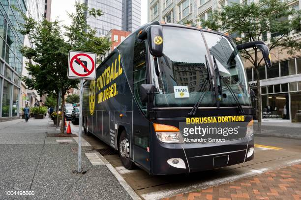 Impressions of Borussia Dortmund's coach in the streets of Pittsburgh during Borussia Dortmund US Tour 2018 on July 23 2018 in Pittsburgh United...