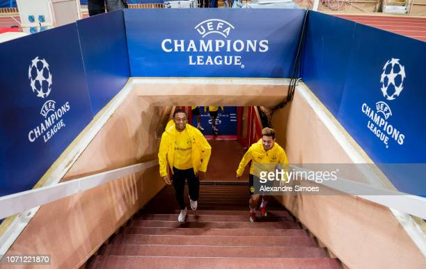Impressions of Borussia Dortmund's last training session prior to the UEFA Champions League Group A match between AS Monaco and Borussia Dortmund at...