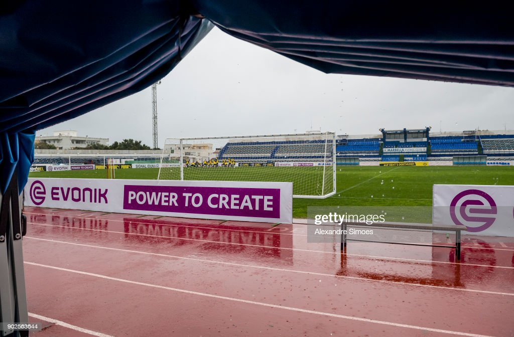 Impressions of Borussia Dortmund's rainy training session as part of the training camp at the Estadio Municipal de Marbella on January 08, 2018 in Marbella, Spain.