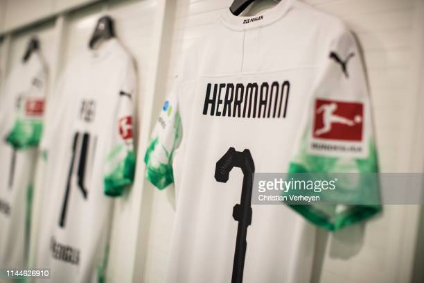 Impressions of the new jersey of Patrick Herrmann Borussia Moenchengladbach seen in the dressing room of Borussia Moenchengladbach before the...