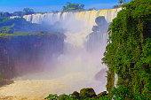 impressive iguacu falls with rainbow argentina