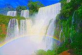 impressive iguacu falls landscape with rainbow