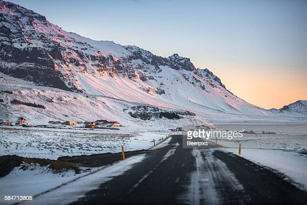 Impressive snowy landscape at the southern ring road in Iceland during winter in the morning.