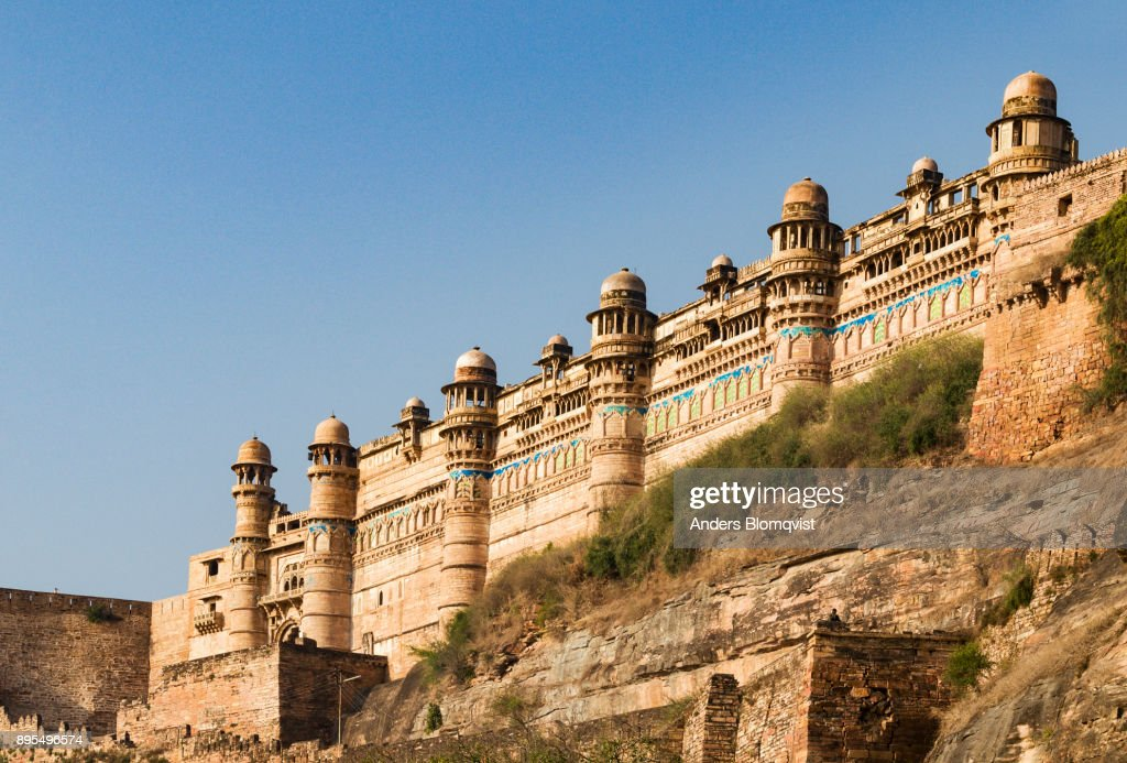 Impressive Tiled Front Of The Man Singh Palace In Gwalior Fort