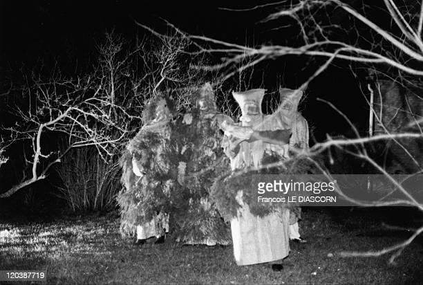 Improbable trees in Terschelling Netherlands Men in costumes made of leaves during a festival on the Island of Terschelling Holland Festival of Saint...
