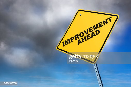 Road Sign Boards >> Improvement Ahead Stock Photo | Getty Images