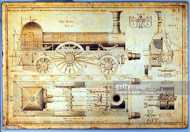 �Improvements in the arrangement and combination of the parts of Loco Engine� dated 22 December 1841 Engineering plans elevations and sections drawn...