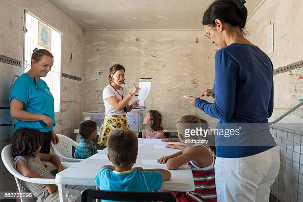 Improvised school for refugee children in Greece