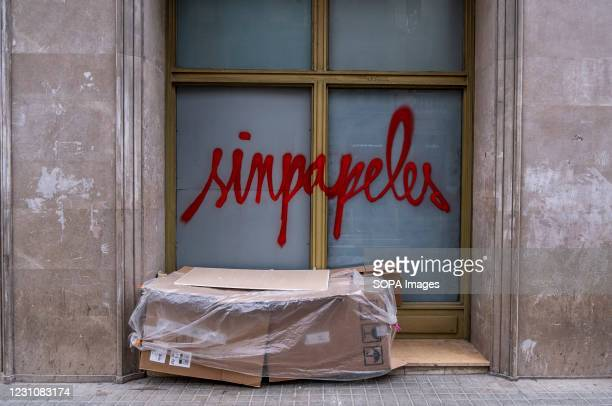 Improvised shelters with cardboard boxes for the homeless are seen along the central street. The Covid19 pandemic is leaving a trail of homeless...