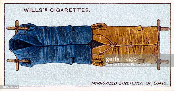Improvised stretcher of coats' Wills' cigarette card 1913 One of a series of 50 'First Aid' cigarette cards issued by WD HO Wills The image shows...