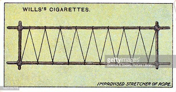Improvised stretcher of rope' Wills' cigarette card 1913 One of a series of 50 'First Aid' cigarette cards issued by WD HO Wills The image shows four...