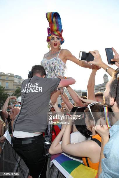Impulse Presents Alyssa Edwards performs on the Trafalgar Square Stage during Pride In London on July 7 2018 in London England It is estimated over 1...