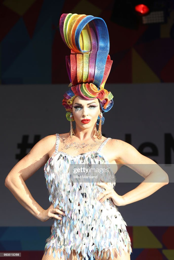 Impulse Presents Alyssa Edwards performs on the Trafalgar Square Stage during Pride In London on July 7, 2018 in London, England. It is estimated over 1 million people will take to the streets and approximately 30,000 people and 472 organisations will join the annual parade, which is one of the world's biggest LGBT+ celebrations.