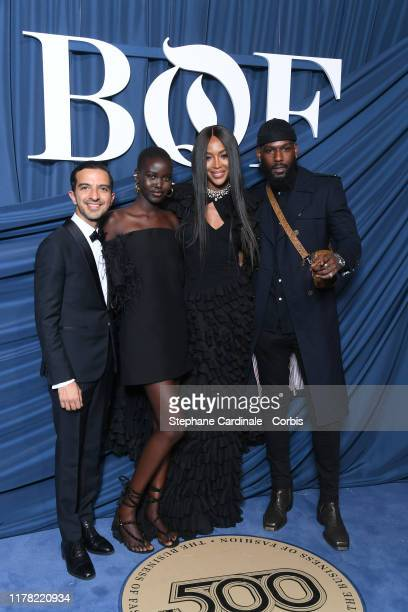 Imran Amed, Adut Akech, Naomi Campbell and a guest attend the #BoF500 gala during Paris Fashion Week Spring/Summer 2020 at Hotel de Ville on...