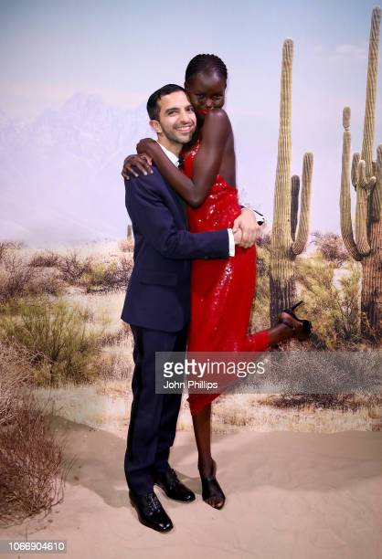Imran Amed and Adut Akech attend the gala dinner in honour of Stella McCartney winner of the Global VOICES Award for 2018 during #BoFVOICES on...