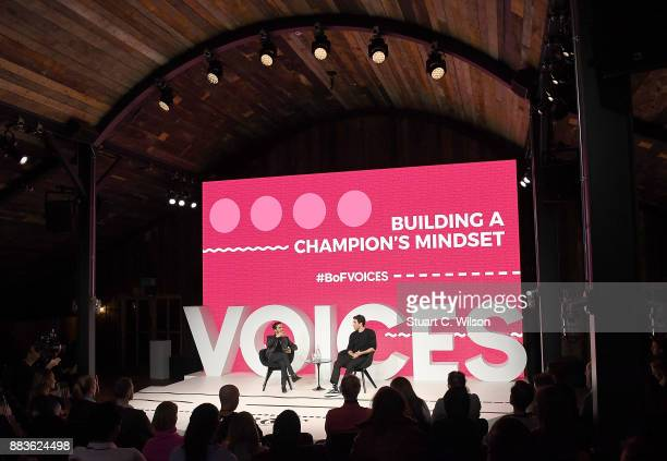 Imran Amed and Akin Akman speak on stage during #BoFVOICES on December 1 2017 in Oxfordshire England