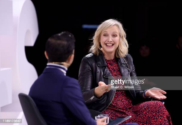 Imran Amed and Carole Cadwalladr speak during #BoFVOICES on November 21, 2019 in Oxfordshire, England.