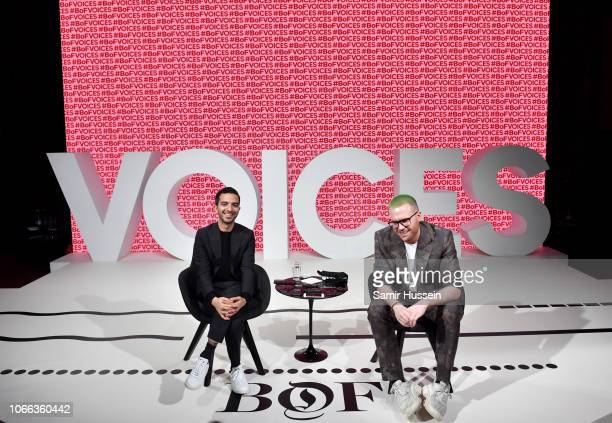 Imran Amed and Christopher Wylie hold a Q&A with press during #BoFVOICES on November 29, 2018 in Oxfordshire, England.