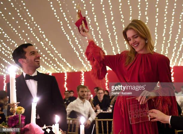 Imran Amed and Natalia Vodianova with her Global VOICES 2017 Award at the gala dinner during #BoFVOICES on December 1 2017 in Oxfordshire England