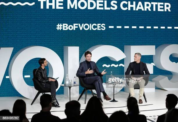 Imran Amed Antoine Arnault and James Scully speak on stage during #BoFVOICES on December 1 2017 in Oxfordshire England