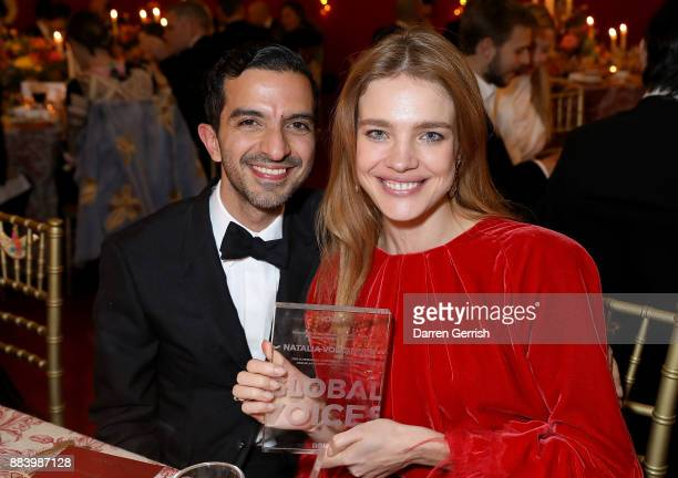 Imran Amed congratulates Natalia Vodianova on her Global VOICES 2017 Award at the gala dinner during #BoFVOICES on December 1 2017 in Oxfordshire...