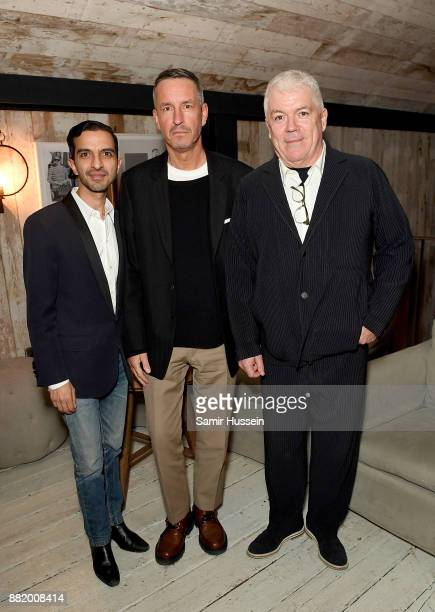 Imran Amed, Dries Van Noten and Tim Blanks attend the welcome dinner during #BoFVOICES on November 29, 2017 in Oxfordshire, England.