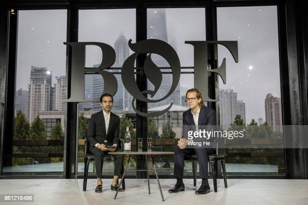 Imran Amed Founder CEO of The Business of Fashion and Stefan Larsson Former CEO of Ralph Lauren speaks on stage at the BoF China Summit during...