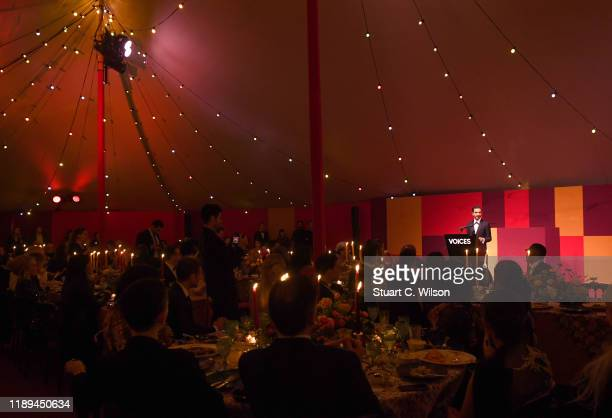 Imran Amed on stage at the gala dinner in honour of Edward Enninful winner of the Global VOICES Award 2019 during #BoFVOICES on November 22 2019 in...