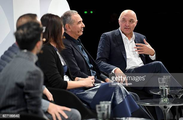 Imran Amed Steven Kolb Caroline Rush Carlo Capasa and Pascal Morand speak on stage as The Business of Fashion presents VOICES on December 2 2016 in...