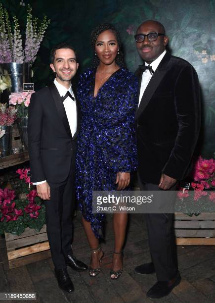 Imran Amed Tiwa Savage and Edward Enninful at the gala dinner in honour of Edward Enninful winner of the Global VOICES Award 2019 during #BoFVOICES...