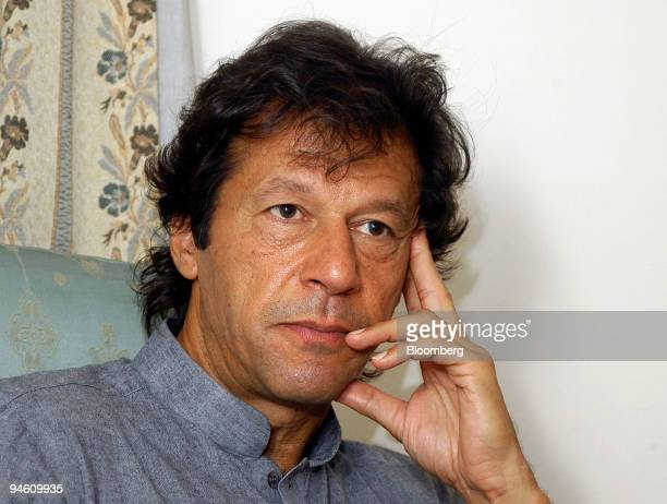 Imran Khan a former cricket star and currently a politician in Pakistan speaks during an interview in Islamabad Pakistan on Monday June 25 2007 Imran...