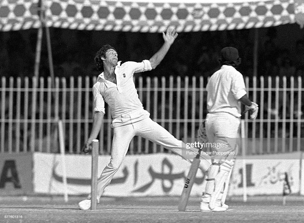 Imran Khan bowling for Pakistan during the 2nd Test match between Pakistan and India at Lahore Pakistan 27th October 1978 Imran Khan is wearing a...