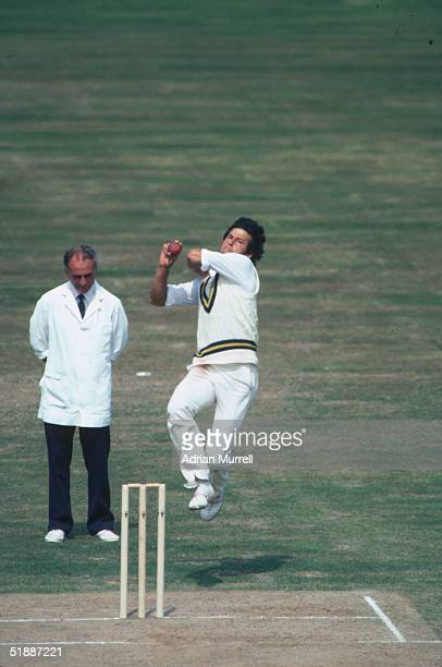 Imran Khan Captain of the Pakistan team bowling during the First Test Match against England at Birmingham July 1982