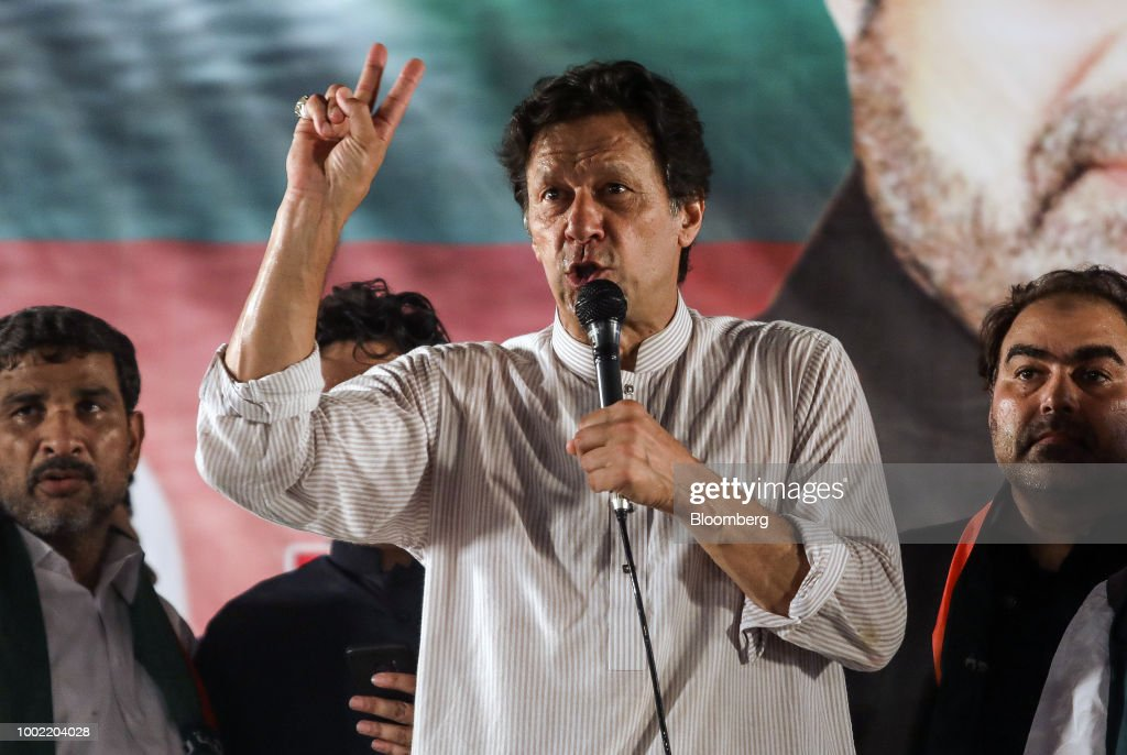Imran Khan chairman of Pakistan TehreekeInsaf also known as Movement for Justice speaks during a campaign rally in Lahore Pakistan on Friday July 20..