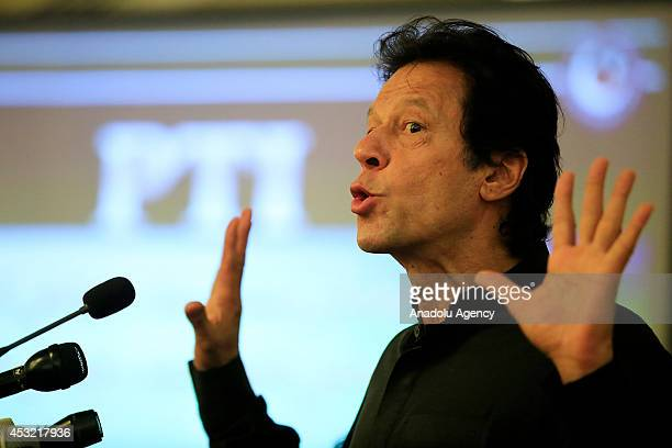Imran Khan chairman of Pakistan TehreekeInsaf party holds a press conference and demands the resignation of Prime Minister Muhammad Nawaz Sharif and...