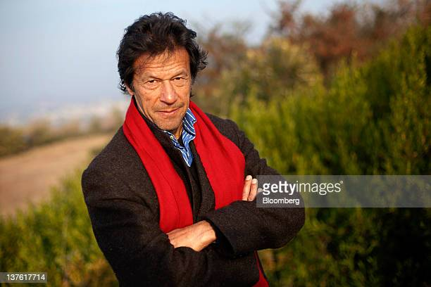 Imran Khan chairman of Pakistan TehreekeInsaf poses for a photograph in Islamabad Pakistan on Saturday Jan 21 2012 Khan the former Pakistani cricket...