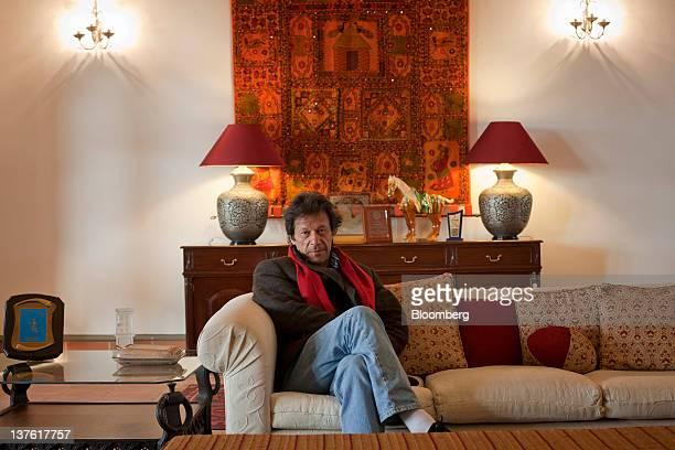 Imran Khan chairman of Pakistan TehreekeInsaf poses for a photograph in Islamabad Pakistan on Saturday Jan 21 2012 Khan the former Pakistani cricket...