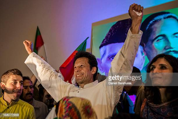 Imran Khan chairman of the Pakistan Tehrik e Insaf party addresses party volunteers and supporters during a rally for volunteers on May 05 2013 in...