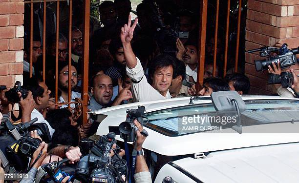 Imran Khan cricketer turned politician is surrounded by university students in Lahore 14 November 2007 as he appeared in public for the first time...