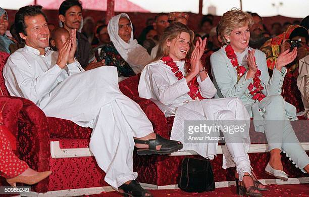 Imran and Jemima Khan sit with Diana Princess of Wales during her visit to the former Pakistani cricket captain's hospital in Lahore April 1996 in...