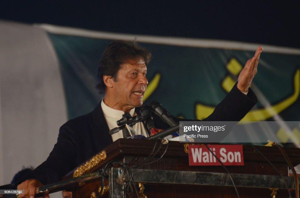 Imran Khan leader of political party Pakistan TehreekeInsaf addressing to Pakistan Awami Tehreek Pakistan Peoples Party and Pakistan TehreekeInsaf...