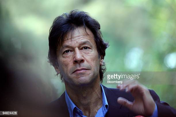 Imran Khan leader of the TehrikeInsaaf political party comments on the assassination of former Pakistani Prime Minister Benazir Bhutto at a news...