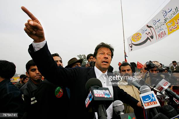 Imran Khan member of the APDM and leader of Pakistan TehreekeInsaf speaks at a rally in favour of boycotting Monday's national elections on February...