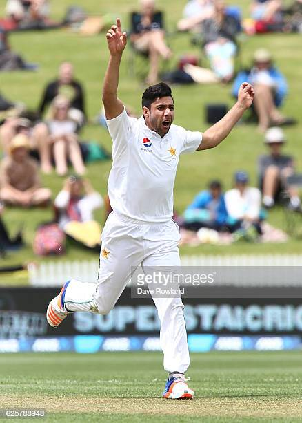 Imran Khan of Pakistan appeals unsuccessfully during day two of the Second Test match between New Zealand and Pakistan at Seddon Park on November 26,...