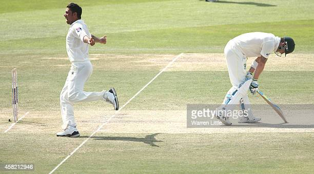 Imran Khan of Paksitan celebrates after bowling Michael Clarke of Australia during Day Three of the Second Test between Pakistan and Australia at...