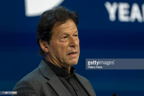 Imran Khan, prime minister of Pakistan, gives a speech at the World Economic Forum in Davos.