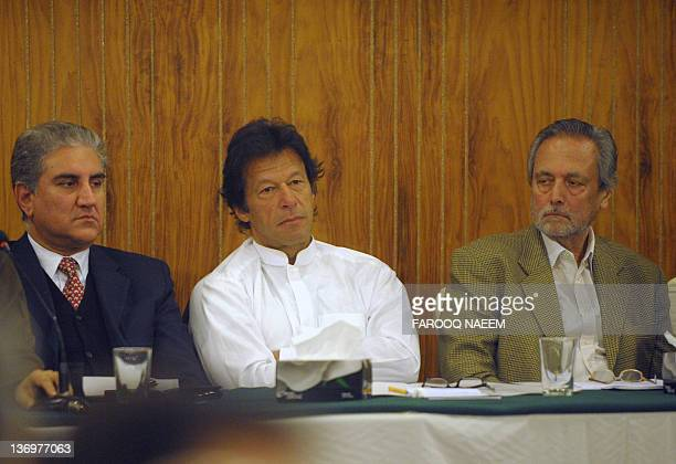 Imran Khan the cricket star turned politician and his party leader former Justice minister Wajihuddin Ahmed former foreign minister Shah Mehmood...