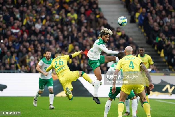 Imran LOUZA of Nantes and Mahdi CAMARA of Saint Etienne during the Ligue 1 match between Nantes and Saint Etienne at Stade de la Beaujoire on...