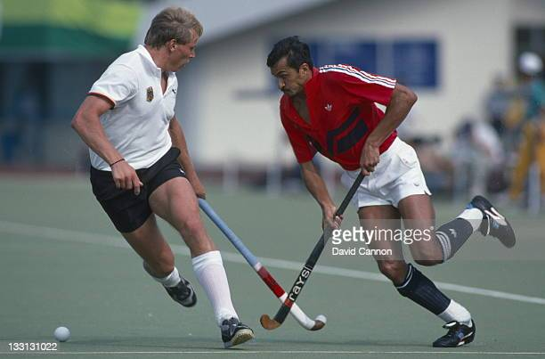 Imran Sherwani of Great Britain during the Men's Field Hockey final against Germany on 1st October 1988 at the XXIV Summer Olympic Games at the...